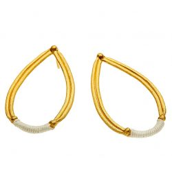 Chromata Drops Earrings Gold white-danaigiannelli